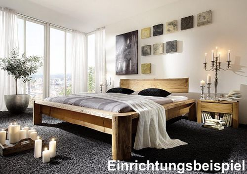 Balkenbett 160x210 Überlänge Unikat Vollholz rustikal antik gewachst antik – Bild 4