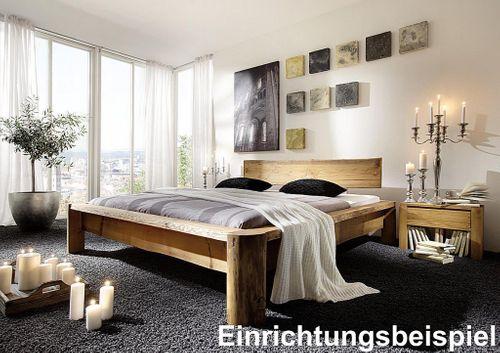 Balkenbett 180x210 Überlänge Unikat Vollholz rustikal antik gewachst antik – Bild 4