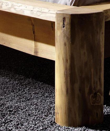 Balkenbett 200x210 Überlänge Unikat Vollholz rustikal antik gewachst antik – Bild 3