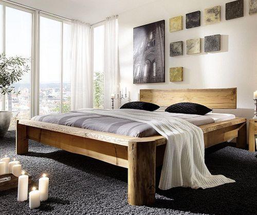 Balkenbett 200x220 Überlänge Unikat Vollholz rustikal antik gewachst antik – Bild 1