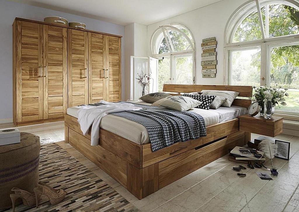 schubladenbett 160x200 kopfteil geteilt wildeiche massiv ge lt. Black Bedroom Furniture Sets. Home Design Ideas