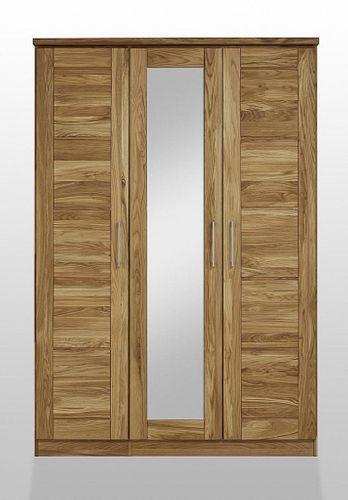 Schlafzimmerschrank 3türig mit Spiegel Wildeiche Schrank Vollholz massiv geölt Kleiderschrank – Bild 1