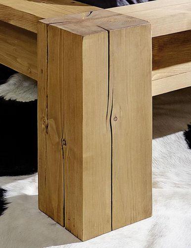 Balkenbett 140x210 Überlänge Holzbett Bettgestell Vollholz Kiefer rustikal – Bild 3