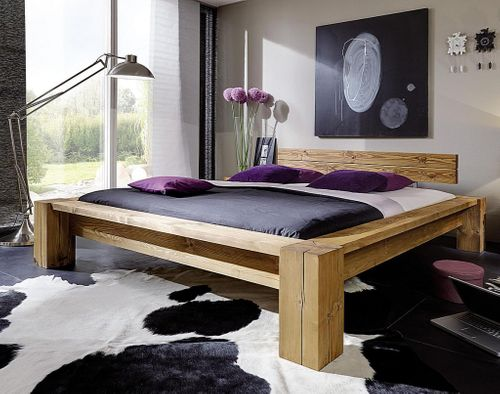 Balkenbett 160x210 Überlänge Bett aus Balken mit Kopfteil massiv Vollholz rustikal antik gewachst – Bild 1