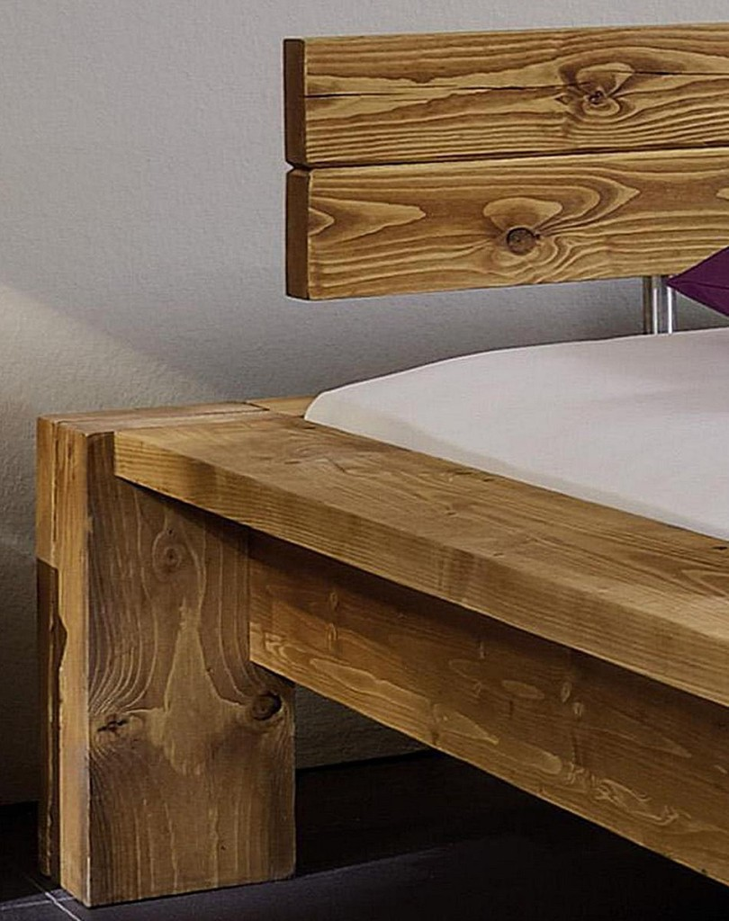 Balkenbett 180x220, mit Kopfteil 2, Nordisches Massivholz rustikal ...