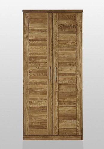Schlafzimmerschrank 2türig mit Schubladen Wildeiche massiv geölt Kleiderschrank – Bild 1