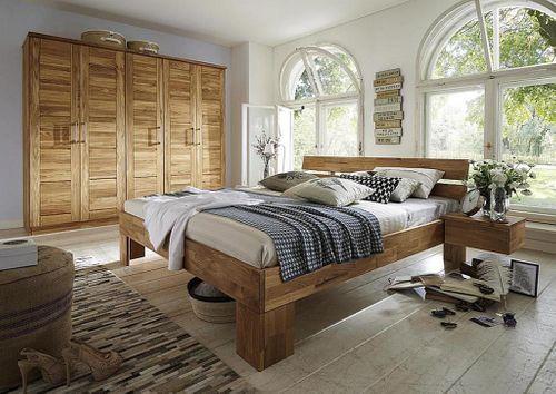 Schlafzimmer 4teilig komplett Bett 180x200 Schrank 5türig Wildeiche massiv geölt – Bild 1