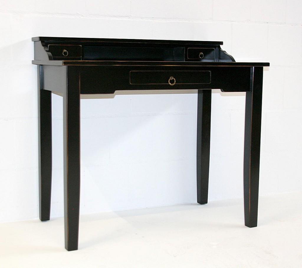 Sekretär Konsolentisch Schreibtisch Vollholz massiv schwarz antik – Bild 1
