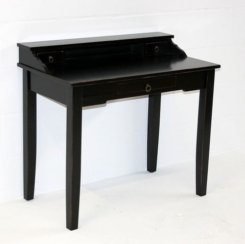 Sekretär Konsolentisch Schreibtisch Vollholz massiv schwarz antik – Bild 3