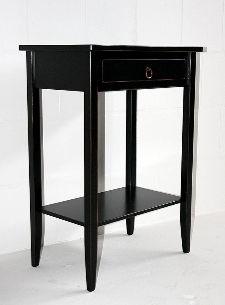beistelltisch set 2 konsolentische holz massiv schwarz shabby chic. Black Bedroom Furniture Sets. Home Design Ideas