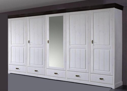 Kleiderschrank Schrank 5türig Vollholz Kiefer massiv 2farbig weiß kolonial – Bild 1