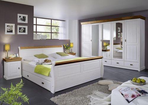 Kleiderschrank Schrank 5türig Vollholz Kiefer massiv 2farbig weiß honig – Bild 3