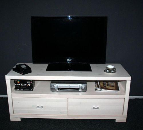 TV-Lowboard 160cm TV-Möbel weiß Vollholz Kiefer massiv – Bild 3