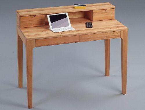 Sekretär Vollholz Schreibtisch 4 Schubladen Kernbuche massiv Computertisch geölt – Bild 1