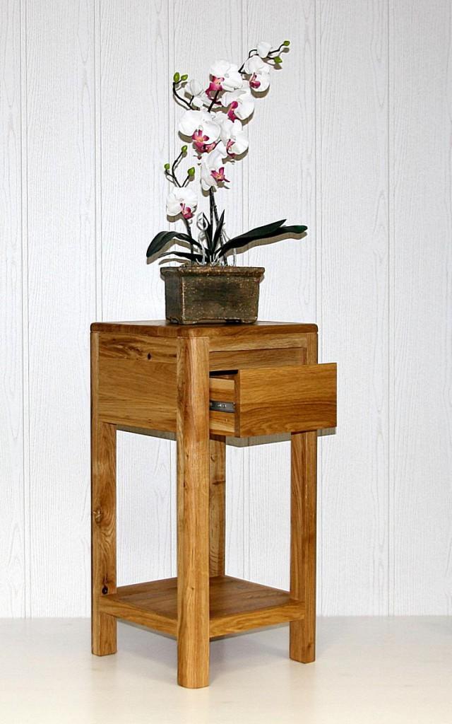 Blumentisch 60cm Vollholz Beistelltisch 1 Schublade quadratisch Wildeiche massiv geölt – Bild 1