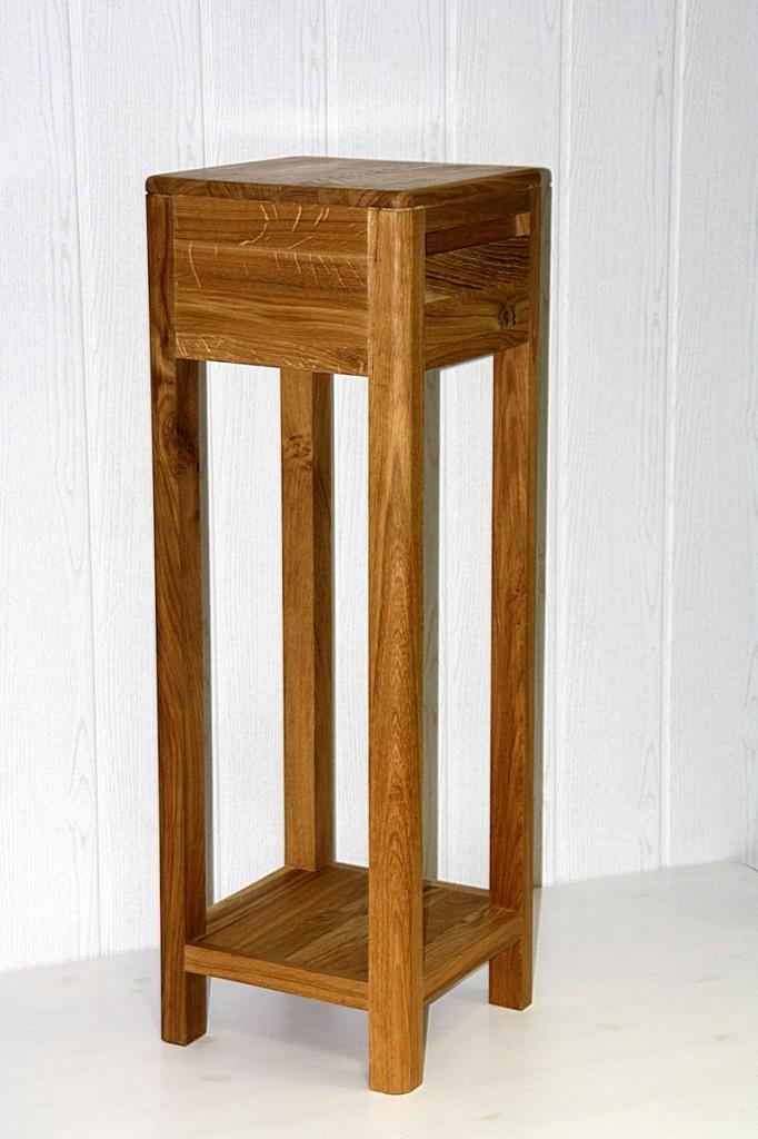 Blumentisch 90cm Vollholz Beistelltisch 1 Schublade quadratisch Wildeiche massiv geölt – Bild 6