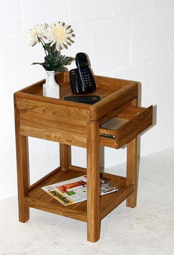 Beistelltisch 40x40 Vollholz Telefonkonsole 1 Schublade quadratisch Wildeiche massiv geölt – Bild 5