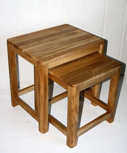 Beistelltisch 2er Set Vollholz Zweisatztisch Tischset Wildeiche massiv geölt – Bild 2