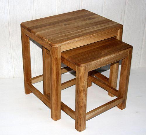 Beistelltisch 2er Set Vollholz Zweisatztisch Tischset Wildeiche massiv geölt – Bild 7