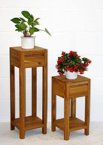 Blumentische 60/90cm Vollholz Beistelltisch-Set 1 Schublade quadratisch Wildeiche massiv geölt – Bild 1