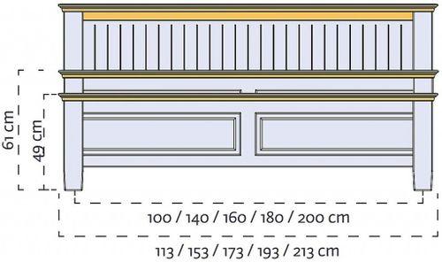 Doppelbett 180x200 niedriges Fußteil Vollholz Bett Kiefer massiv creme Wildeiche geölt – Bild 4