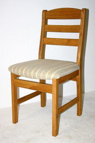 Stuhl mit Polstersitz Holzstuhl Wildeiche massiv geölt Polsterstuhl Stoff 36/742/1 – Bild 1