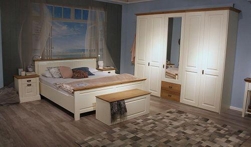 Schlafzimmer komplett 5teilig Kleiderschrank Bett 180x200 Truhe Kiefer massiv creme – Bild 1