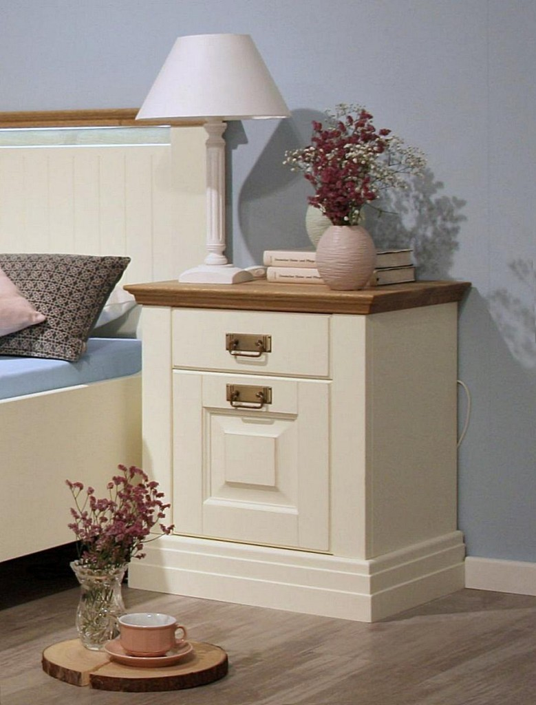 Jugendzimmer komplett 4teilig Kleiderschrank 4türig Bett 100x200 Kiefer massiv creme – Bild 10