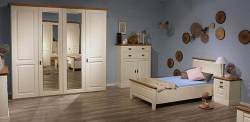 Jugendzimmer komplett 4teilig Kleiderschrank 4türig Bett 100x200 Kiefer massiv creme – Bild 1