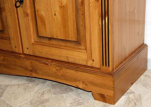 Sideboard 4türig Kiefer Kommode goldbraun lackiert Anrichte honigfarben – Bild 9