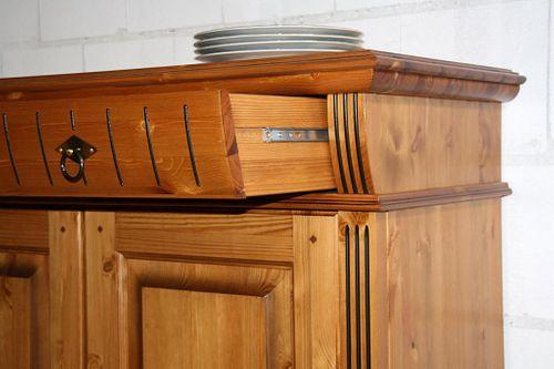 Sideboard 4türig Kiefer Kommode goldbraun lackiert Anrichte honigfarben – Bild 7