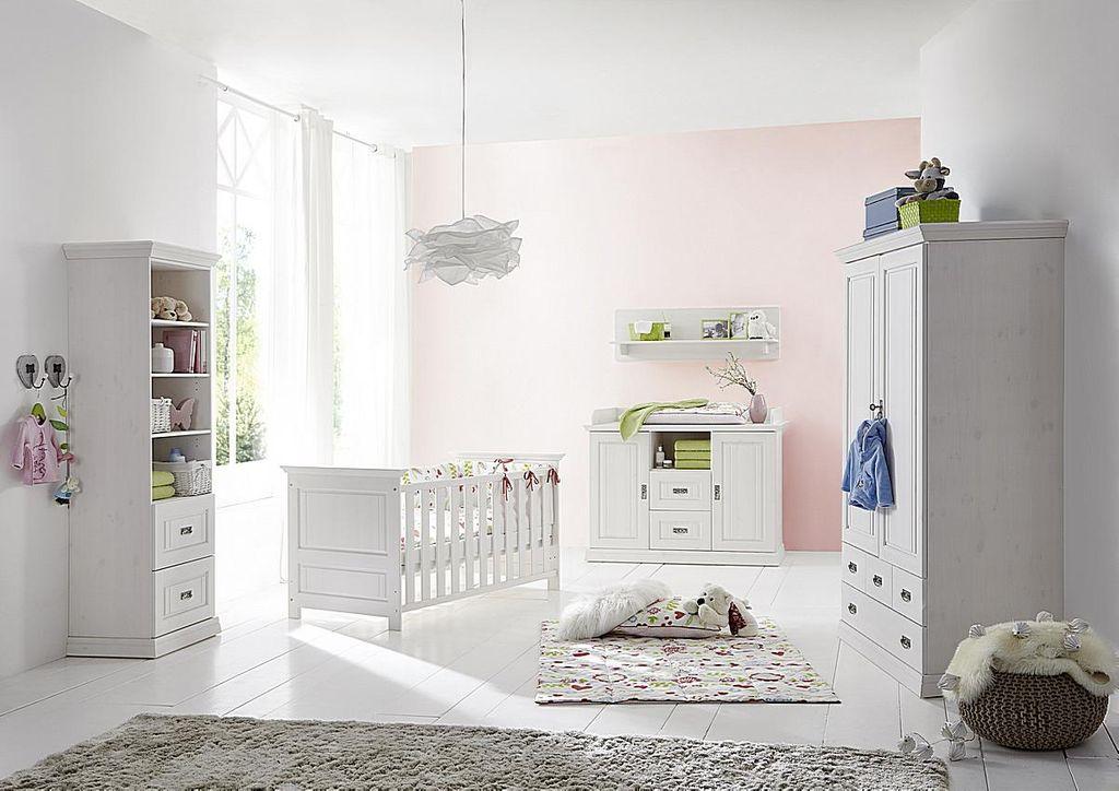 Kinderzimmer 6teilig weiß komplett Babyzimmer Set Kiefer Vollholz massiv – Bild 1