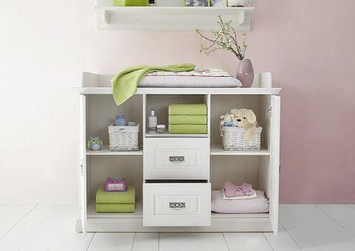 Kinderzimmer 6teilig weiß komplett Babyzimmer Set Kiefer Vollholz massiv – Bild 8