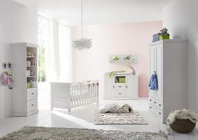 Kinderzimmer 6teilig weiß komplett Babyzimmer Set Kiefer Vollholz massiv 001