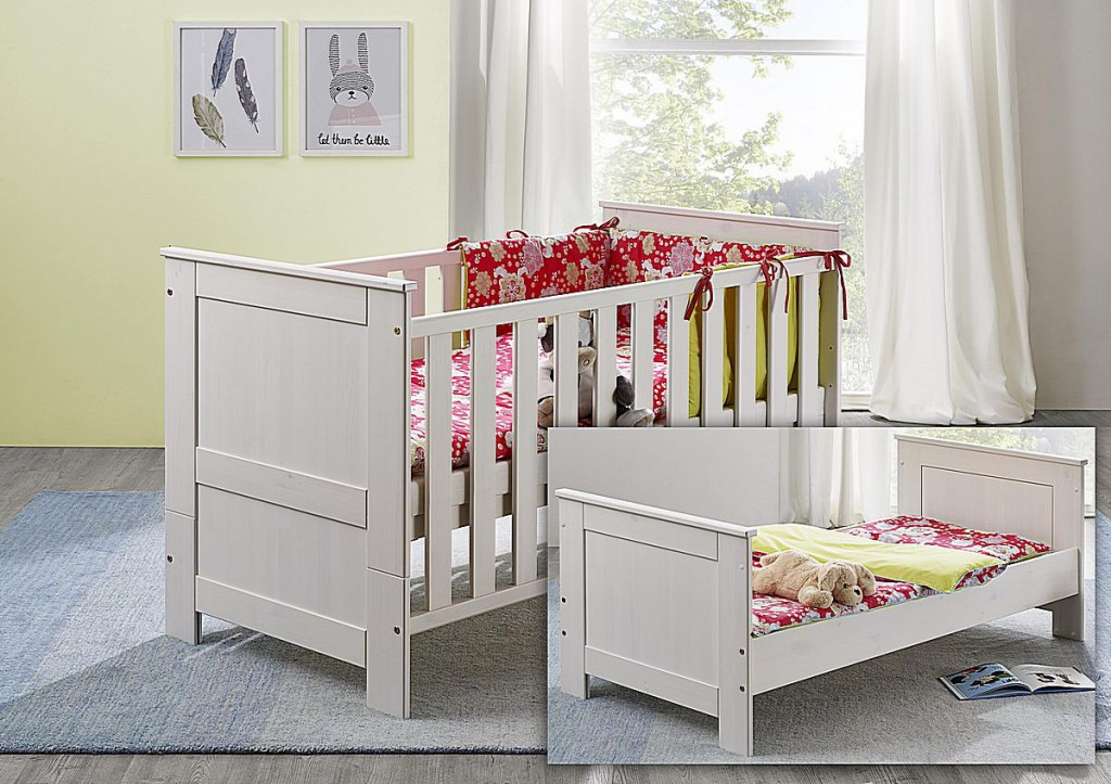 babybett juniorbett kinderbett 70x140 wei gewachst kiefer massiv. Black Bedroom Furniture Sets. Home Design Ideas