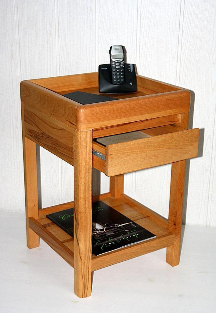 telefontisch 40x60x40cm 1 schublade kernbuche massiv ge lt. Black Bedroom Furniture Sets. Home Design Ideas