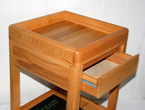 Beistelltisch 40x40 Vollholz Telefontisch 1 Schublade quadratisch Kernbuche massiv geölt – Bild 8