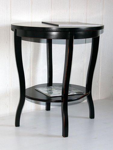 Tisch Beistelltisch Teetisch oval 57 Vollholz massiv schwarz antik – Bild 7
