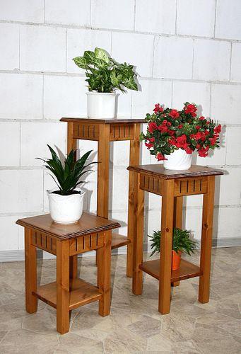 Blumentisch-Set Kiefer Blumentische Blumensäulen massiv goldbraun – Bild 1