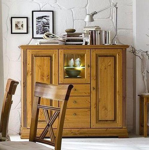 Highboard Geschirrschrank Kiefer Esszimmer Kommode goldbraun lackiert honigfarben – Bild 1
