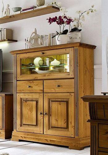 Barschrank 2 Türen 1 Glasklappe Kiefer Highboard goldbraun lackiert honigfarben – Bild 1