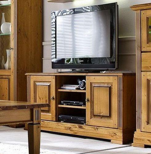 TV-Kommode 155x70x45cm, 2 Türen, Kiefer goldbraun lackiert – Bild 1