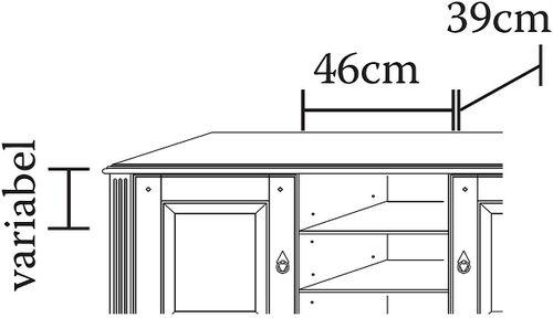 TV-Kommode 155x70x45cm Lowboard 2 Türen 2 Schublade Kiefer goldbraun lackiert honigfarben – Bild 4