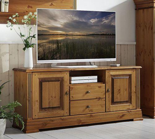 TV-Kommode 155x70x45cm Lowboard 2 Türen 2 Schublade Kiefer goldbraun lackiert honigfarben – Bild 1