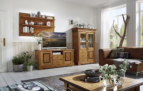 TV-Kommode 155x70x45cm Lowboard 2 Türen 2 Schublade Kiefer goldbraun lackiert honigfarben – Bild 6
