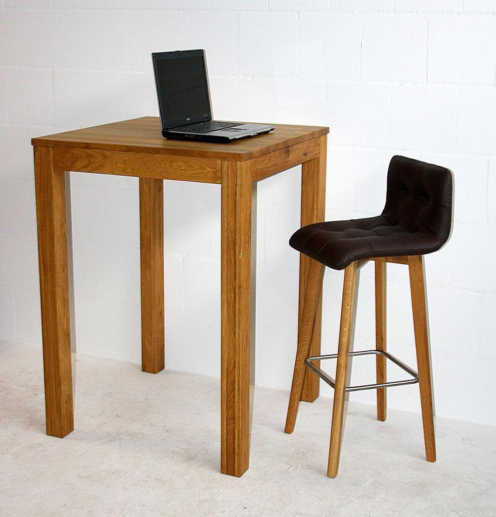 bartisch 80x75x80cm mit 1 barhocker wildeiche ge lt leder braun. Black Bedroom Furniture Sets. Home Design Ideas
