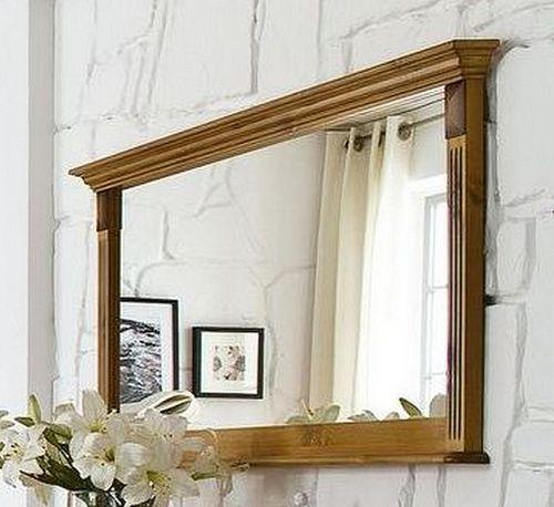 Esszimmerspiegel 155x70 Vollholz Wandspiegel Kiefer massiv goldbraun lackiert – Bild 1