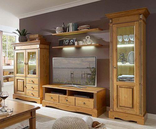 Wohnwand 5teilig komplett Anbauwand Kiefer goldbraun lackiert honigfarben – Bild 1
