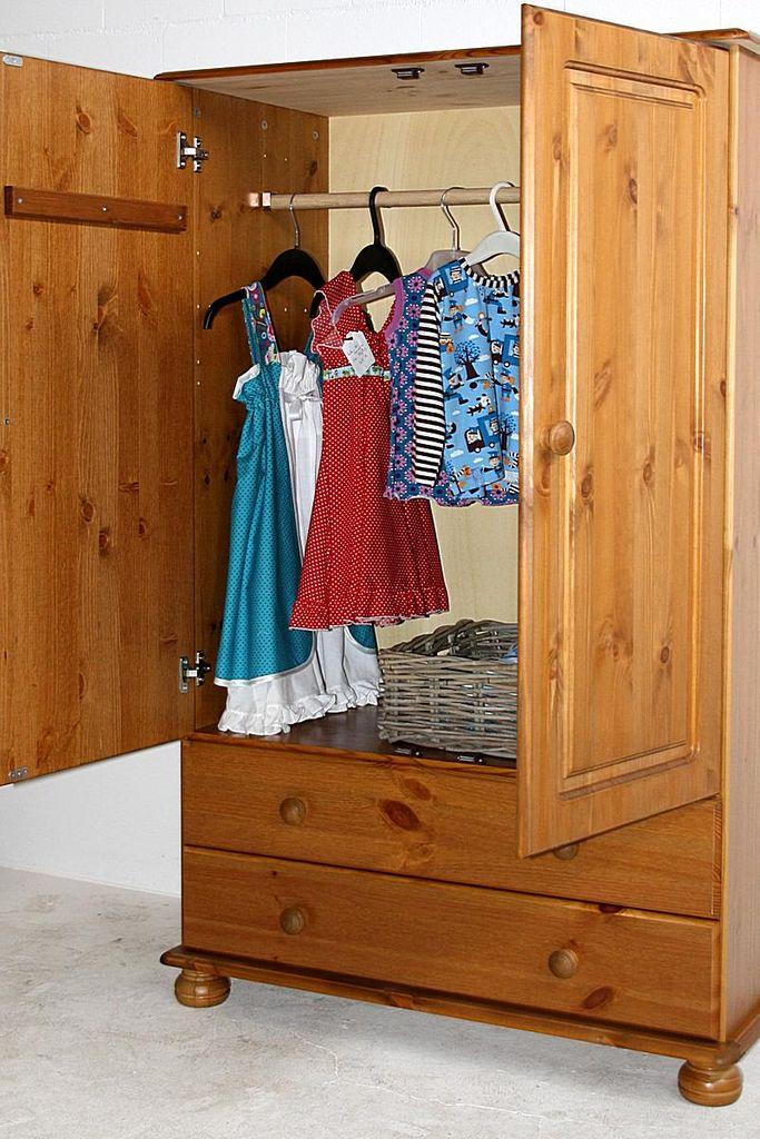 Wäscheschrank Schlafzimmerschrank Kiefer massiv gebeizt lackiert – Bild 4