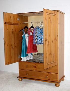 Wäscheschrank 88x137x48cm, 2 Türen, 2 Schubladen, Kiefer massiv gebeizt lackiert